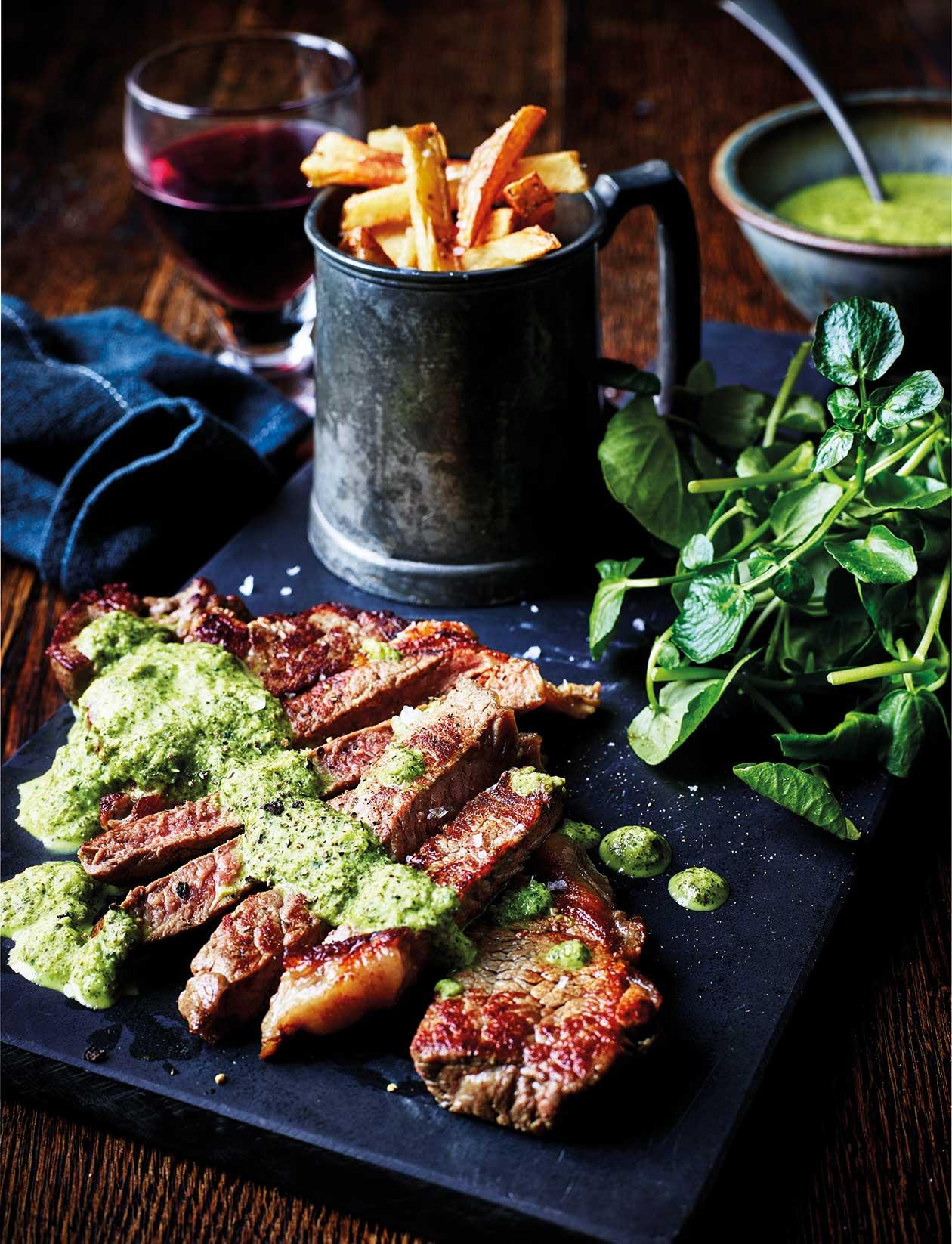 Steak with watercress sauce | Sainsbury's Magazine
