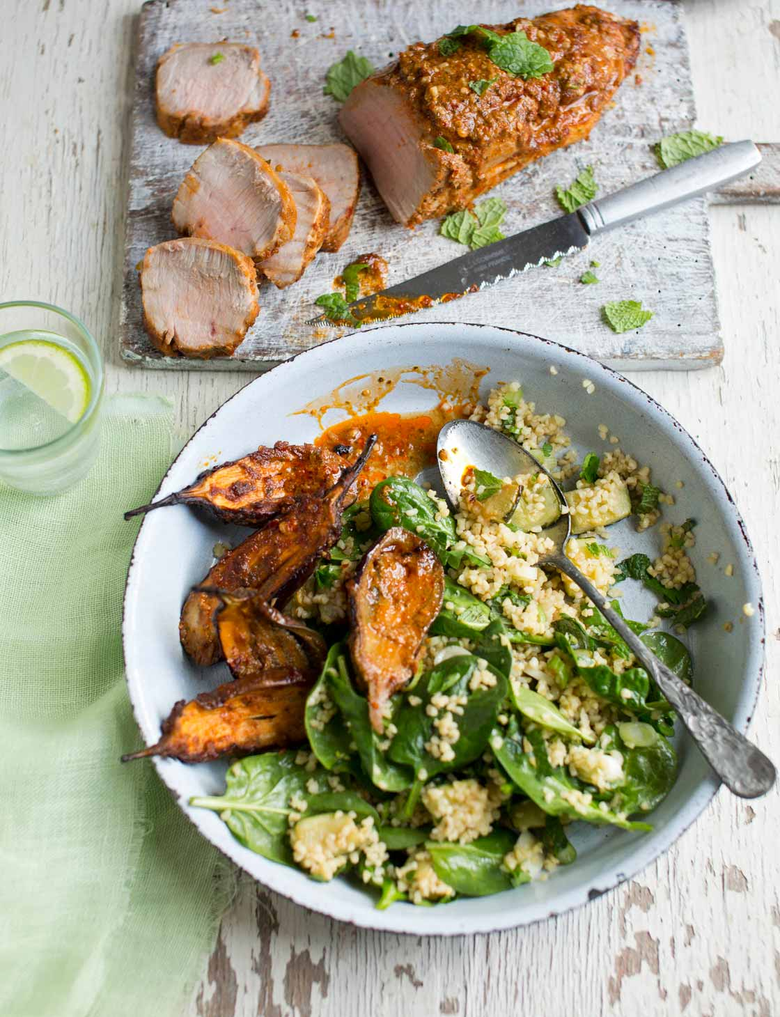 Harissa-lemon pork with bulgur wheat salad