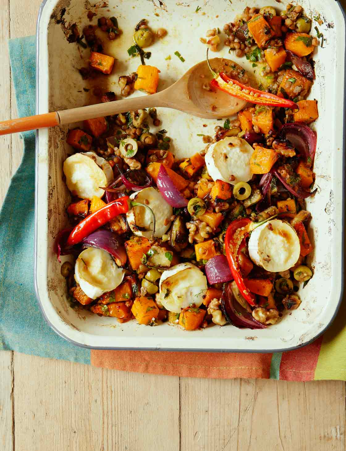 Roasted veg with lentils goats cheese sainsburys magazine forumfinder Image collections