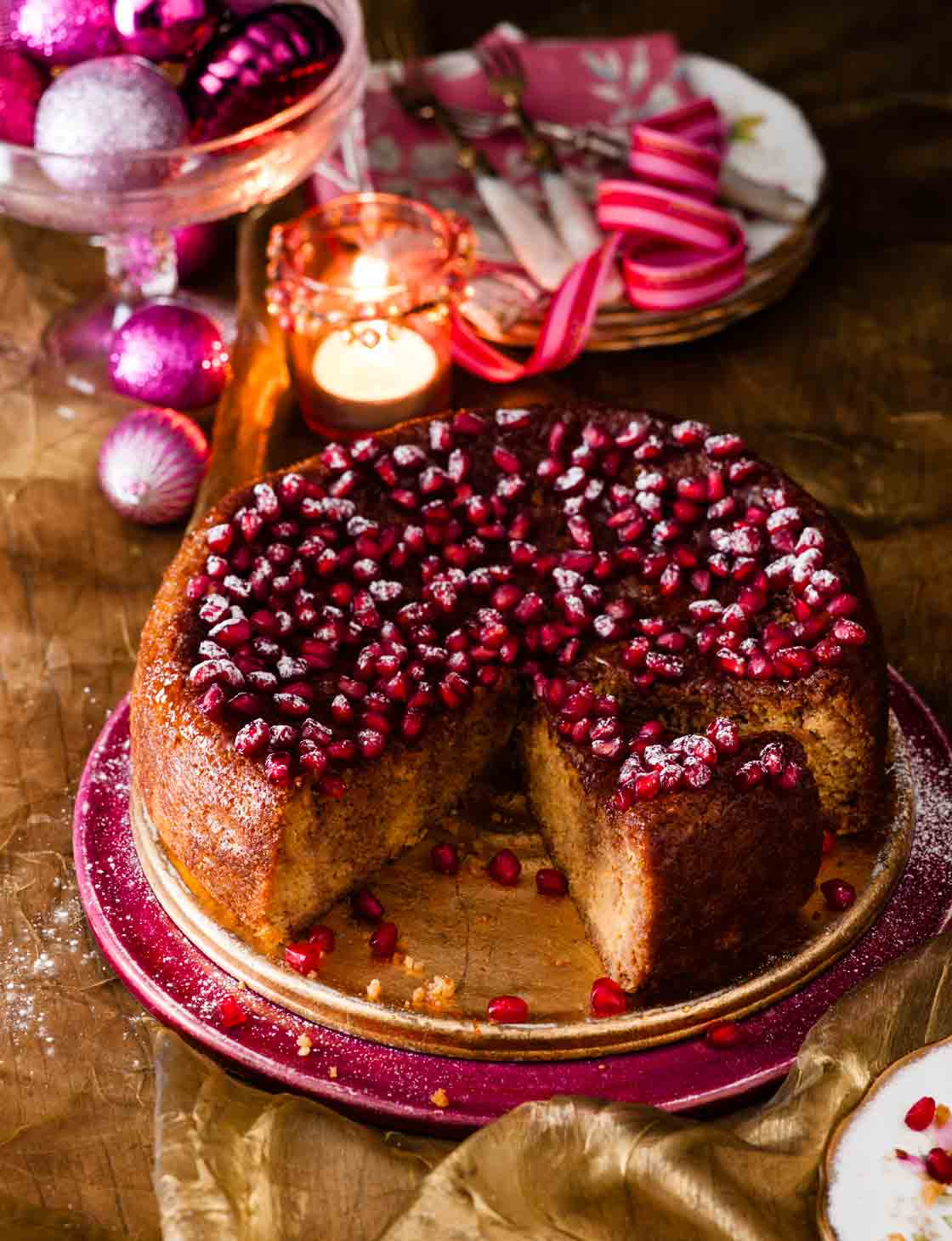 Gluten-free clementine and pomegranate cake