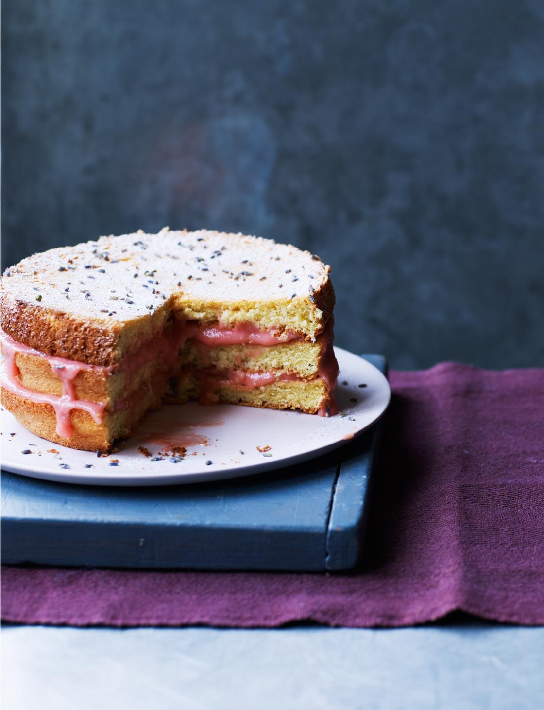 Lavender Sponge Cake With Rhubarb Curd Sainsburys Magazine