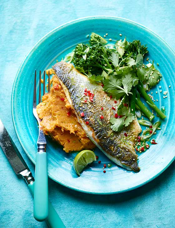 Pan fried lime and ginger sea bass sainsbury 39 s magazine for Turkish sea bass recipe