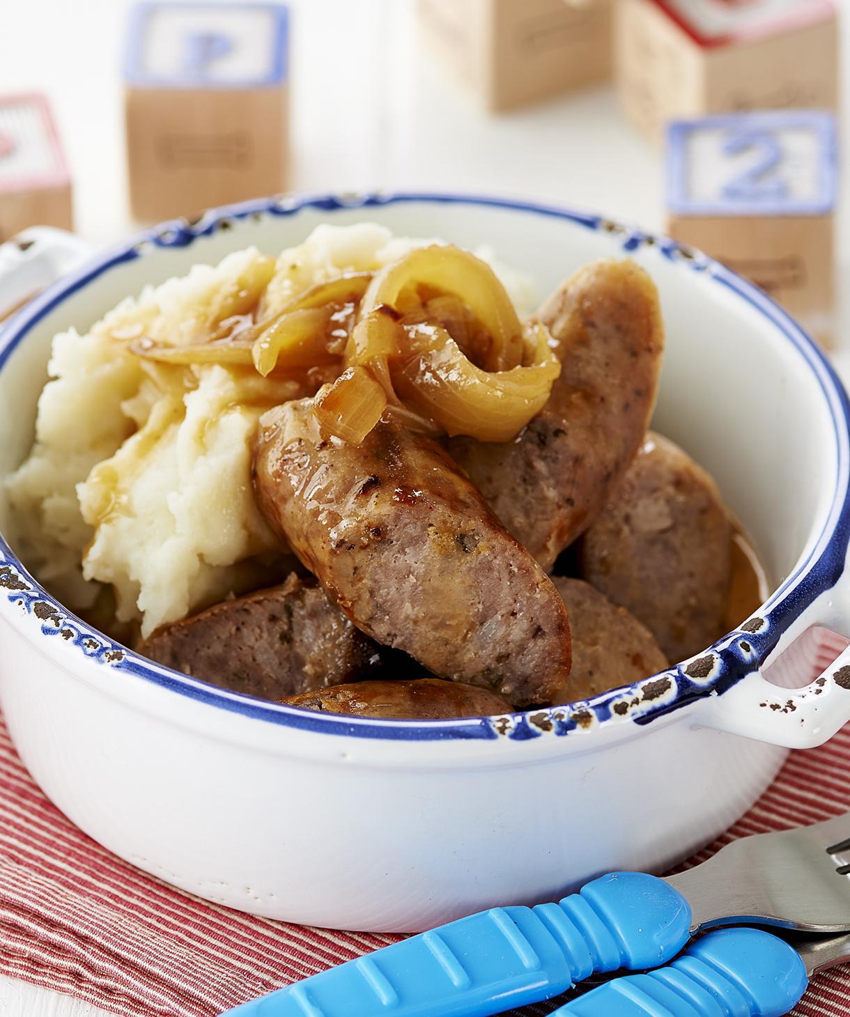 Pork sausages with celeriac potato mash