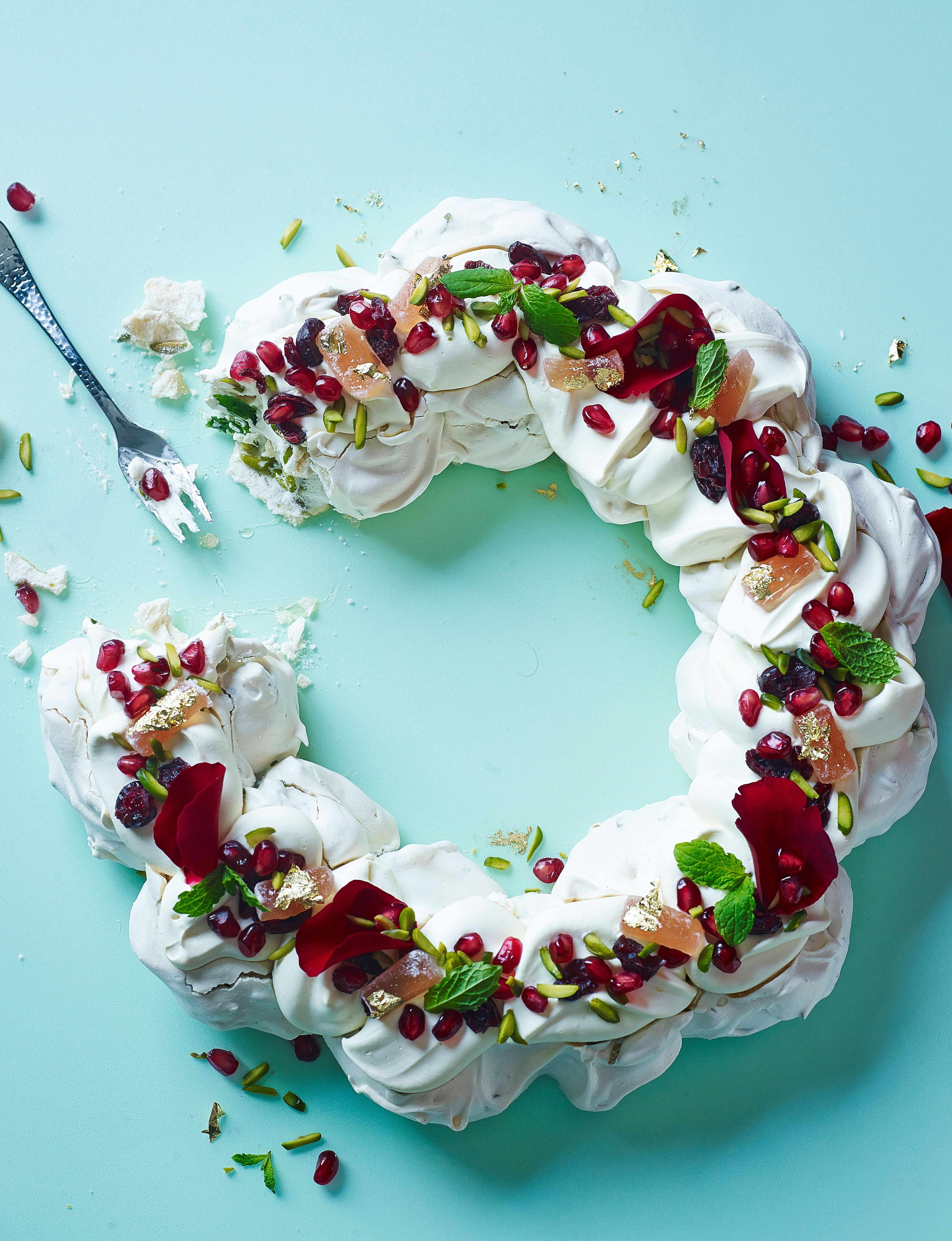 Christmas Pavlova.Turkish Pavlova With Rose Petals And Mint
