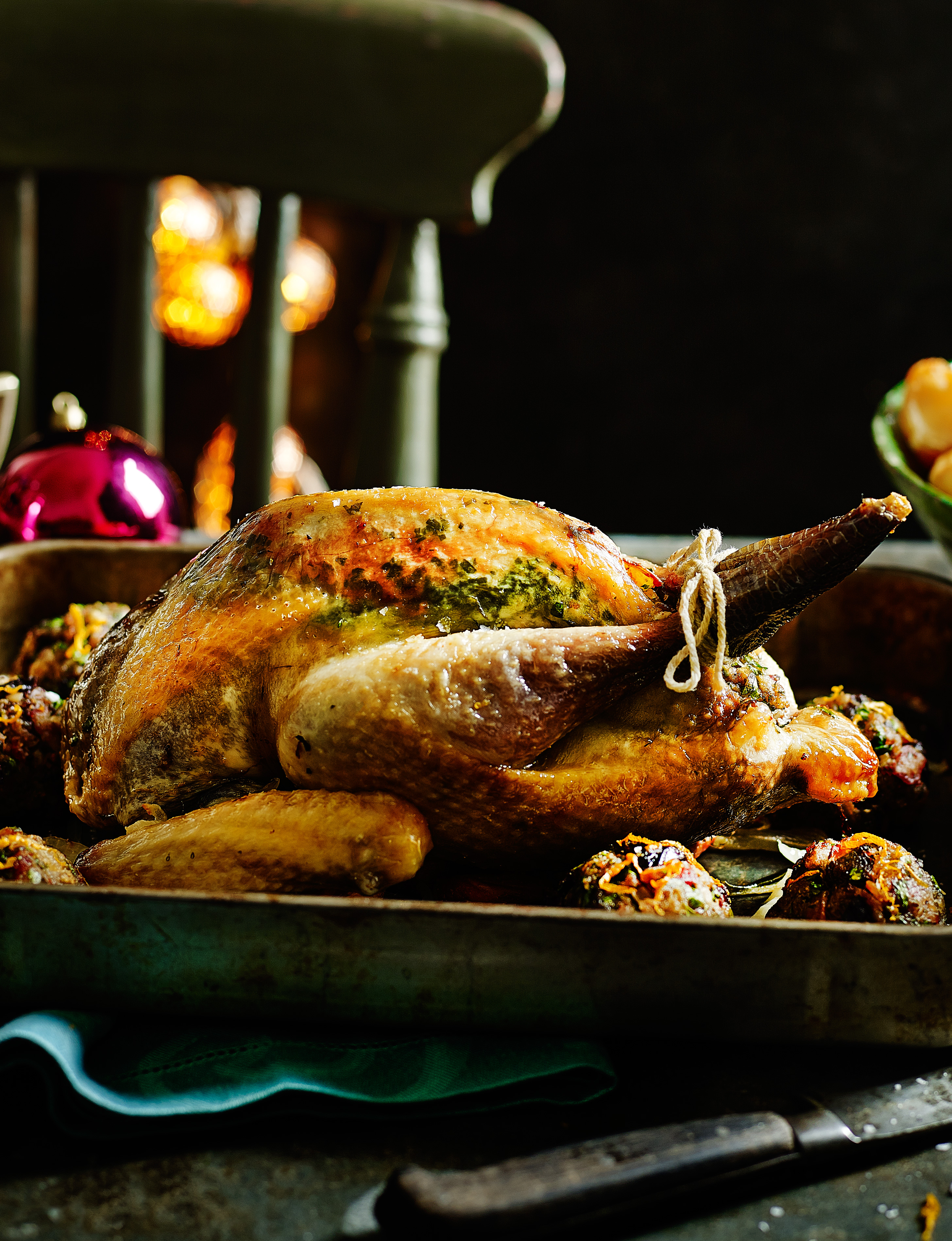 Roast Guinea Fowl With Prune And Bacon Stuffing