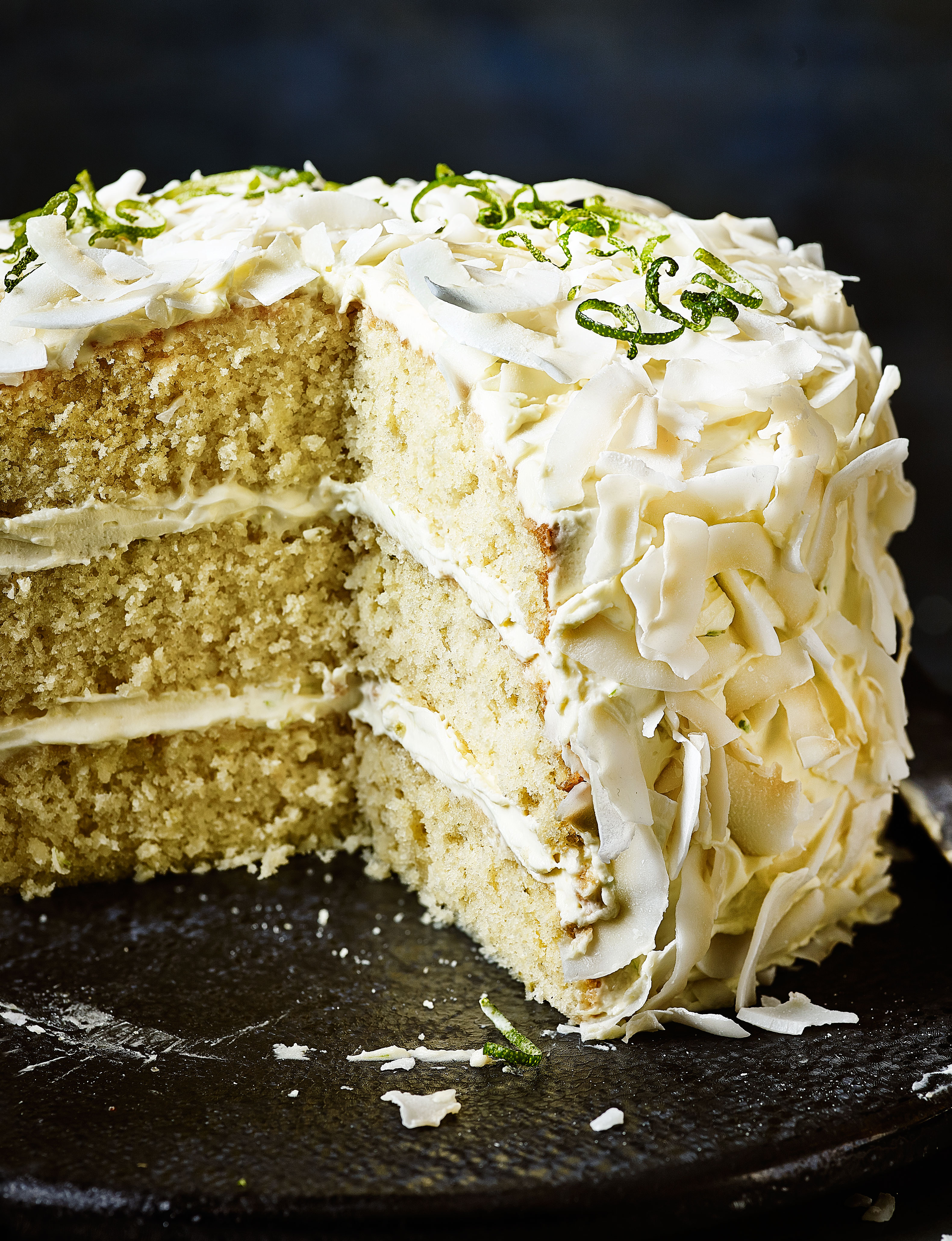 Lime and coconut triple layer cake | Sainsbury's Magazine