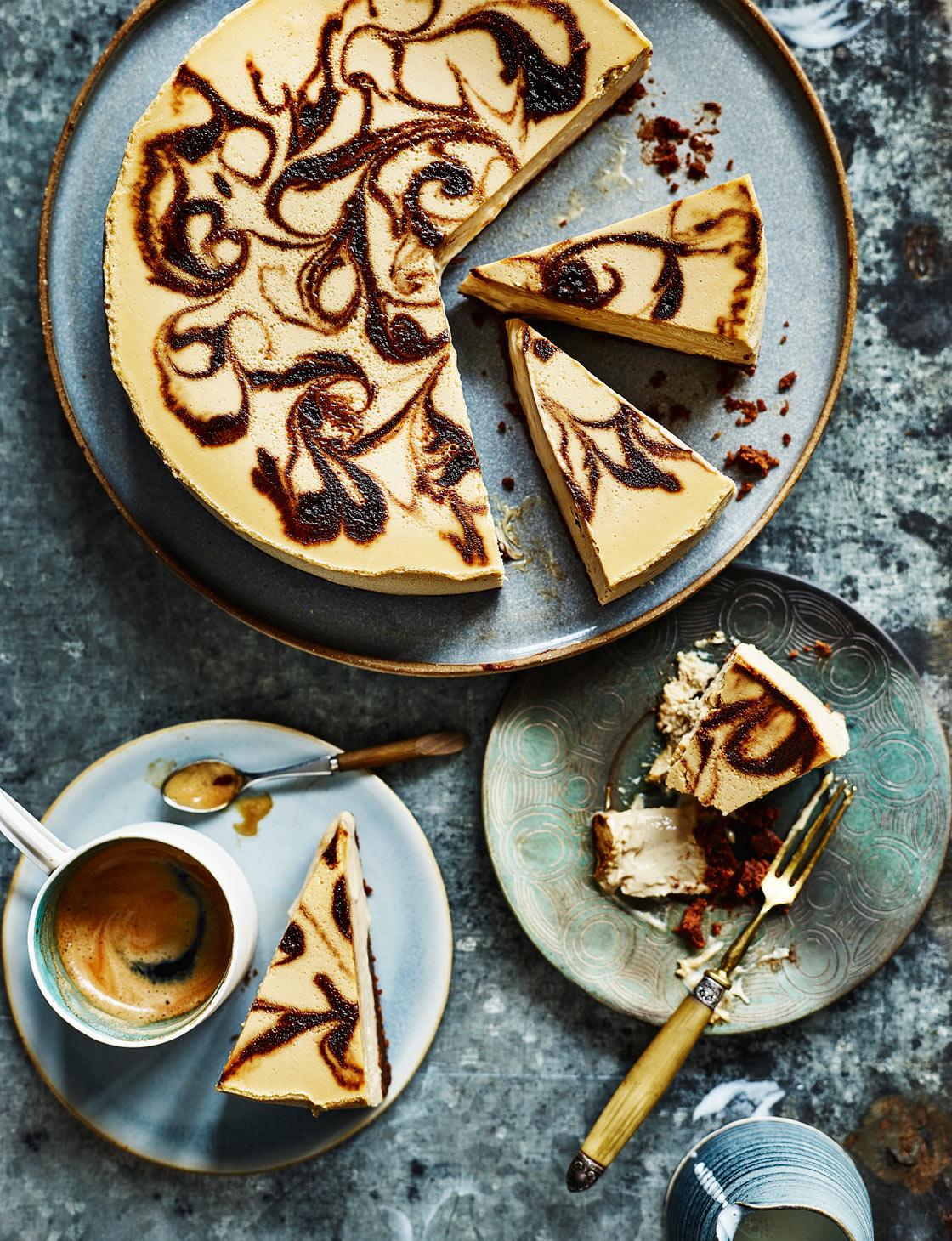 Coffee swirl cheesecake recipe   Sainsbury's Magazine