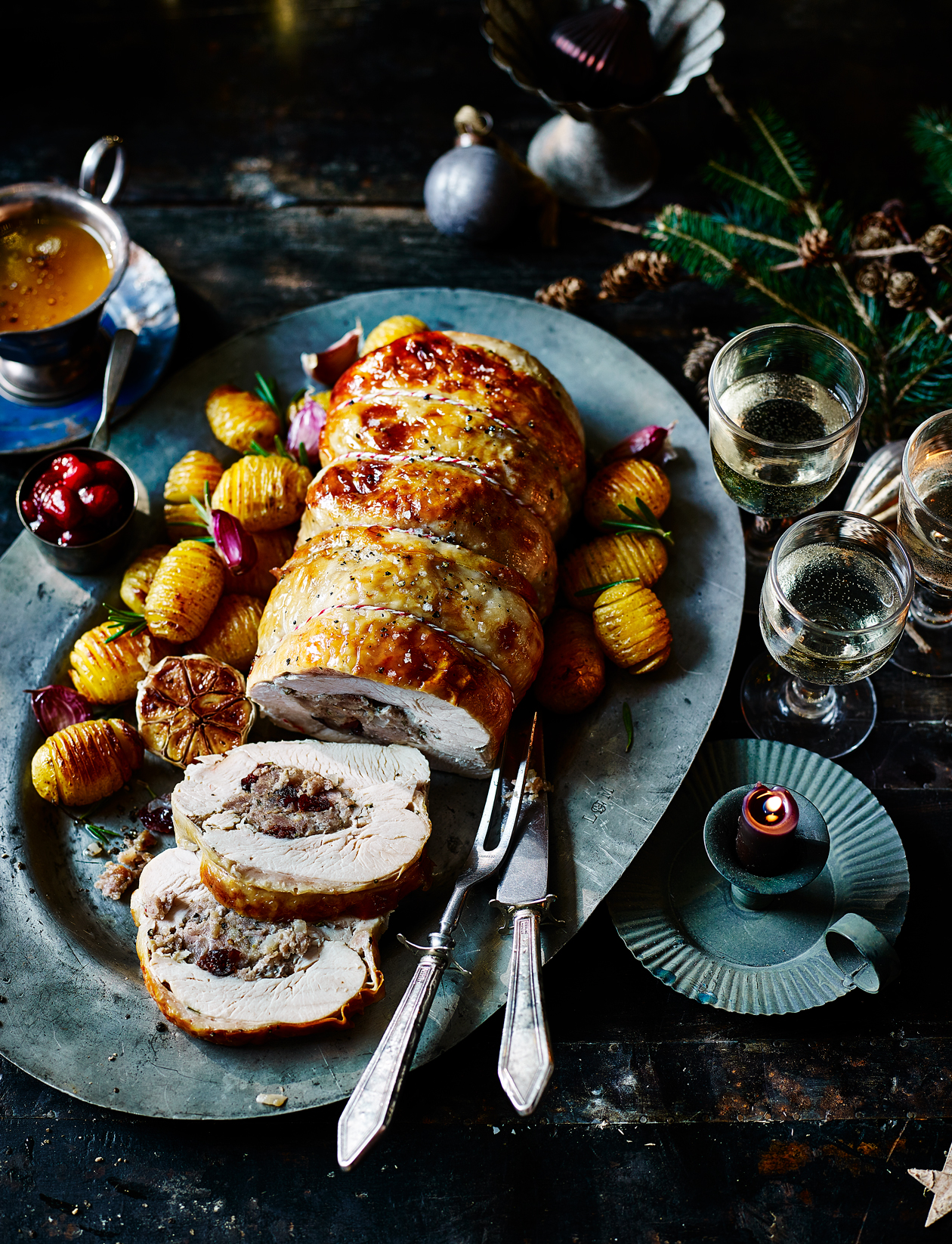 Rolled turkey breast with rosemary and cranberry stuffing recipe |  Sainsbury's Magazine