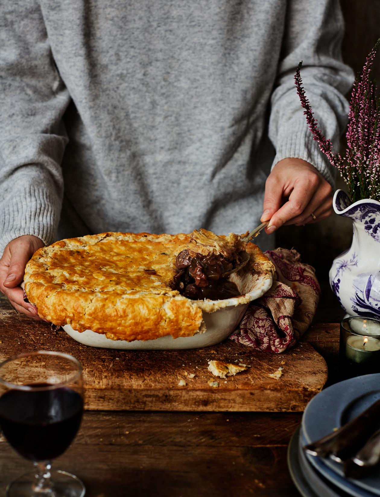 Venison and red wine pie recipe | Sainsbury's Magazine
