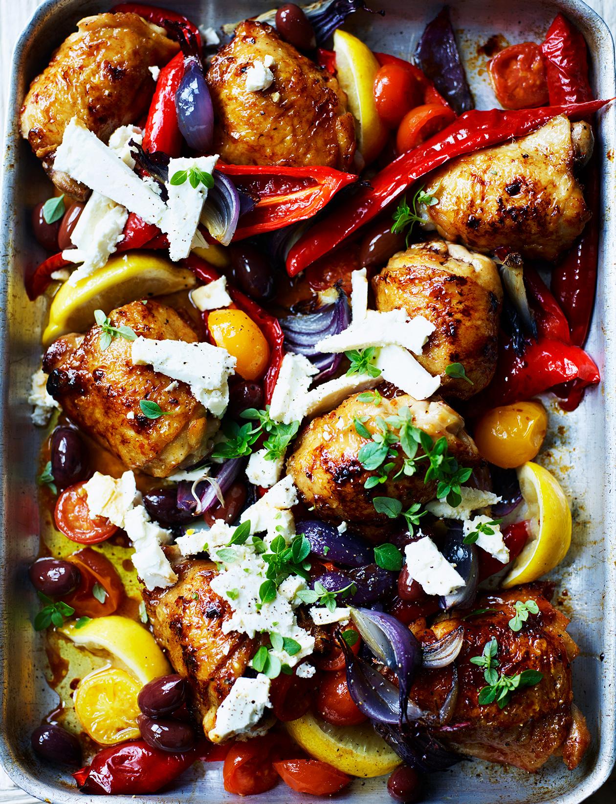 Healthy chicken thigh tray bake chicken new potato traybake recipe chicken chorizo traybake recipe bbc good food forumfinder Gallery