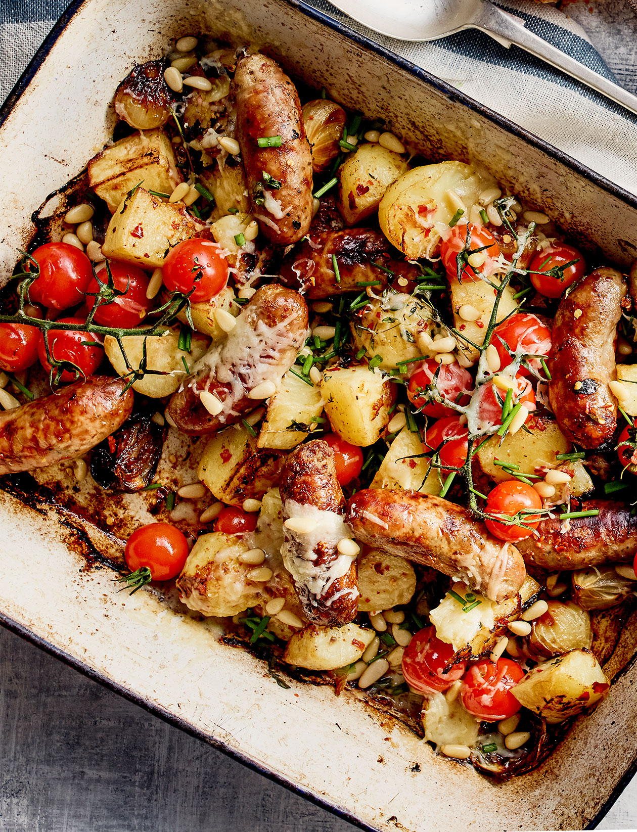 All-in One Sausage And Crispy Potato Bake Recipe