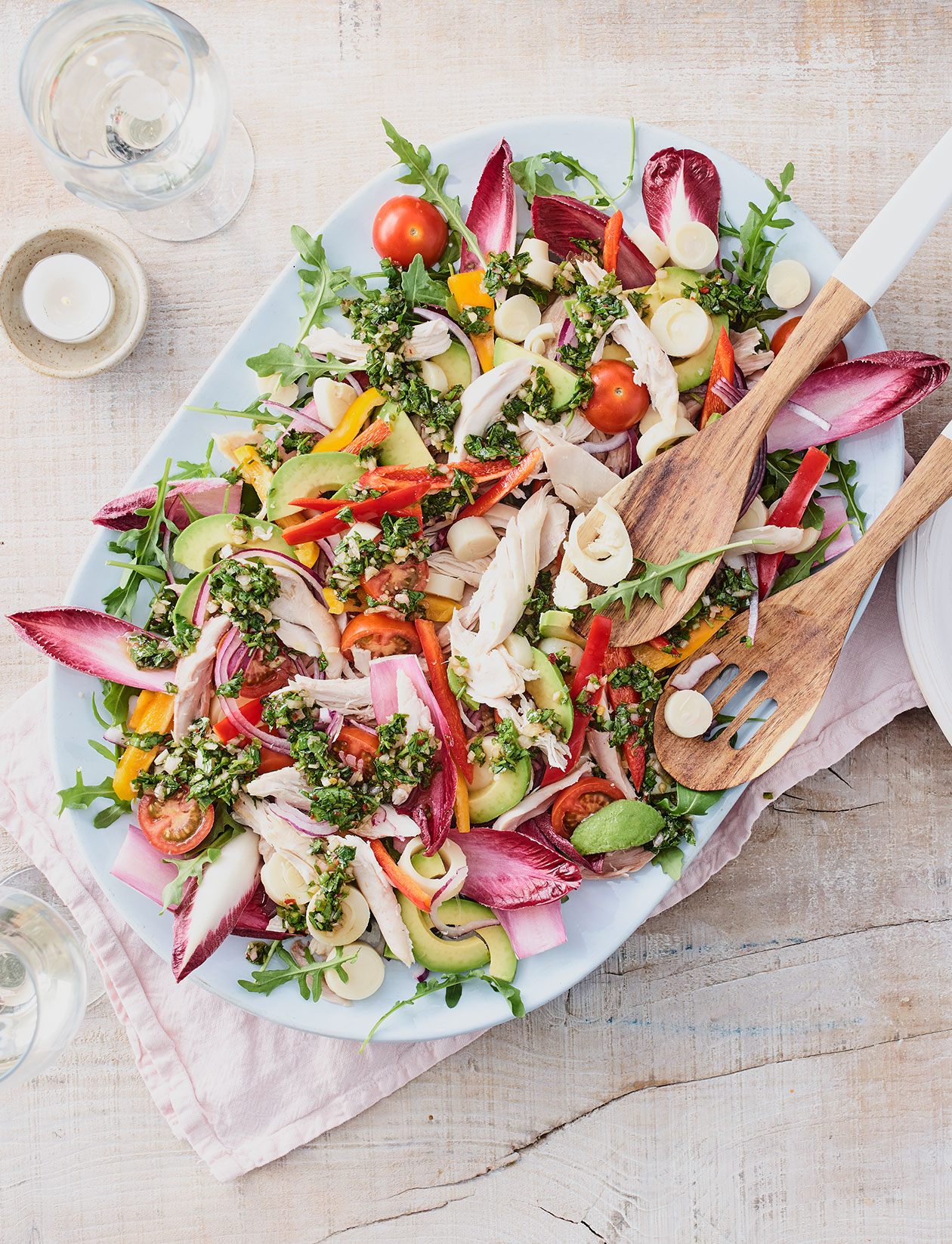 Rotisserie chicken salad with hearts of palm and chimichurri dressing