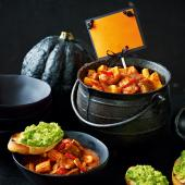 Spicy spooky stew & ghoulish toasts