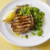 Marinated pork chops with smashed broad beans