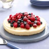 Heavenly lemon cheesecake on a ginger crust