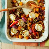 Roasted veg with lentils & goats' cheese
