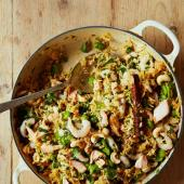 Salmon, prawn and broad bean pilaf
