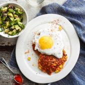 Sweet potato rostis with fried eggs and avocado salsa