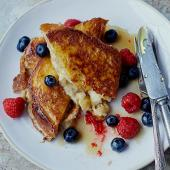 Stuffed banana and berry French toast