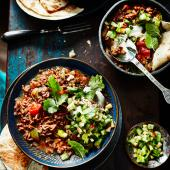 Quick-cook ancho con-carne with cucumber salsa