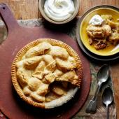 Stem ginger-spiced apple pie with hazelnut pastry