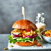 Peri peri halloumi burger with sweetcorn salsa