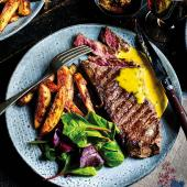 Sirloin steaks with rosemary fries and cheat's Béarnaise