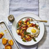 Roast potato and ham hash with sage-fried eggs