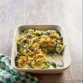 Courgette and spinach tortelloni gratin