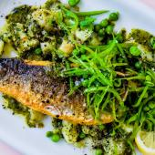 Sea bass with parsley and anchovy 'pesto'
