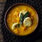 Butternut squash soup with ricotta dumplings