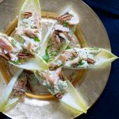 Chicory with hot-smoked fish and avocado with wasabi mayonnaise