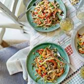 Griddled prawns with mango, noodles and herbs