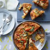 Smoky pepper and onion frittata with Manchego