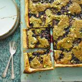 Blackcurrant and pistachio tart