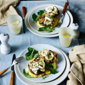 Stuffed mushrooms with goats' cheese and creamy polenta