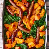 Sausage, butternut and kale traybake