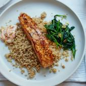 Moroccan salmon with cauliflower  'couscous' and garlic spinach