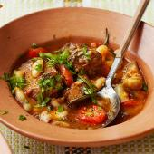 Lamb stew with artichokes, cannellini beans and sunsoaked tomatoes