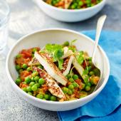 Mattar paneer (a medium curry of peas, tomatoes and Indian cheese)