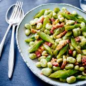 Smoky broad beans and runner beans with bacon