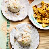Coconut haupia with griddled pineapple