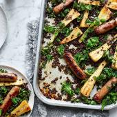 Sticky sausage and parsnip traybake