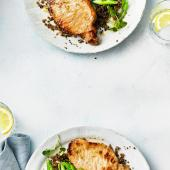 Honey and lemon pork with grains