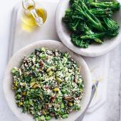Bulgur, broad beans and dates salad with griddled broccoli