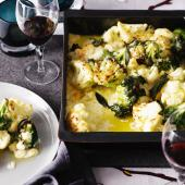 Cauliflower and broccoli gratin with sage
