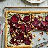 Beetroot, goats' cheese and hazelnut tart