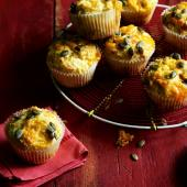 Parsnip, blue cheese and pumpkin seed muffins