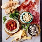 Deli-style antipasti platter with speedy homemade garlic flatbreads