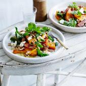 Maple roasted squash with bacon, feta and pecans